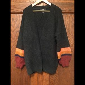 Cozy Oversized Cardigan with Colorful Sleeves
